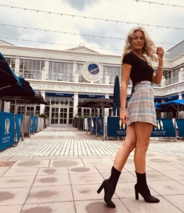 Blue & Rust Check A-Line Lined Mini Skirt (Product Code 188)