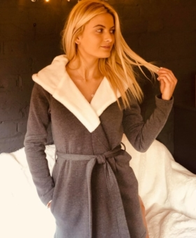 Grey & White Hooded Dressing Gown