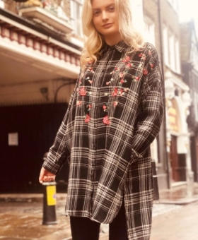Check Embroidered Oversized Shirt/Dress