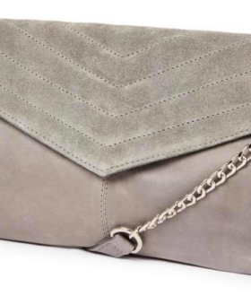 Grey Leather Quilted Crossbody Bag