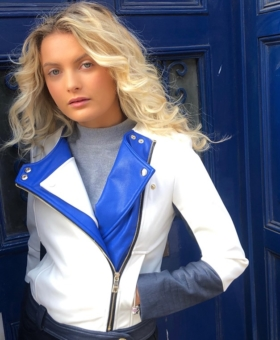Colour Block Faux Leather Fully Lined Biker Jacket
