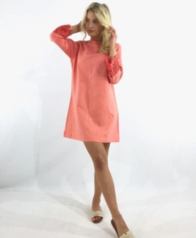 Coral Linen Dress With Embroidery Sleeve Detail