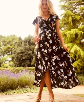 Black & Peach Flower Wrap Dress