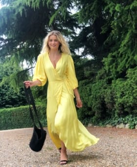 Yellow Puff Ball Sleeve Wrap Dress