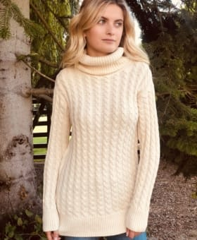 Beige Cable Knit Roll Neck Jumper
