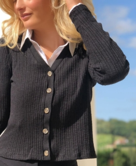 Black Ribbed Fitted Cardigan