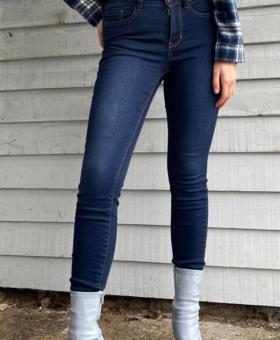 Dark Blue Denim Mustard Stitch Jeans