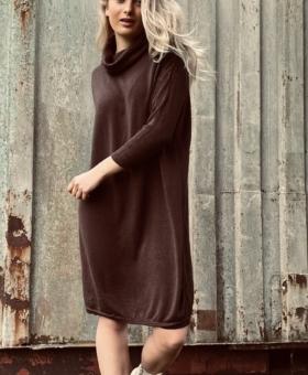 Chocolate Brown Rollneck Jumper Dress