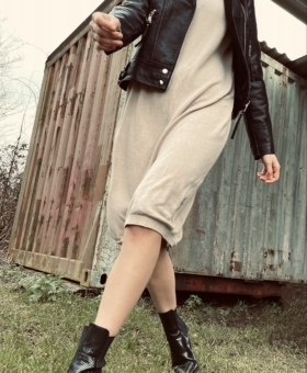 Mocha Rollneck Jumper Dress