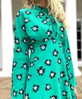 Green Flower Power High Neck Mini Dress