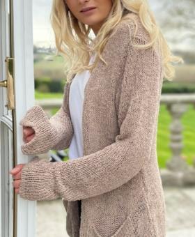 Fawn Distressed Fine Knit Cardigan