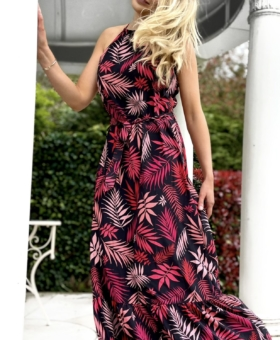 Red & Pink Palm Halterneck Maxi Dress
