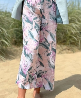 Pastel Pink Floral Wide Leg Trousers