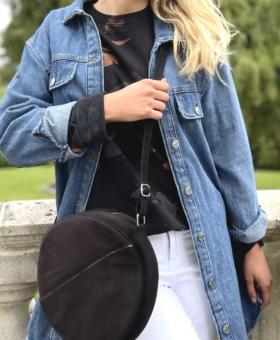 Black Circular Velvet Bag