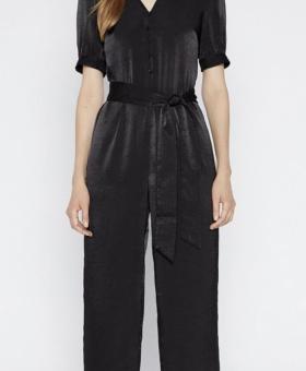 Silky Black Button Down Culotte Style Jumpsuit