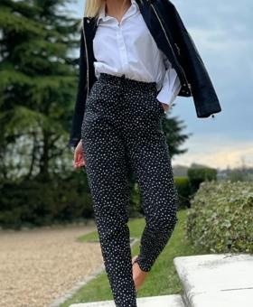 Black & White Polka Dot Tapered Light Weight Trousers
