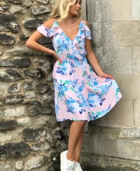 Peach & Blue Floral Dummy Wrap Cold Shoulder Mini Dress