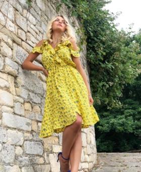 Yellow & Blue Floral Dummy Wrap Cold Shoulder Mini Dress