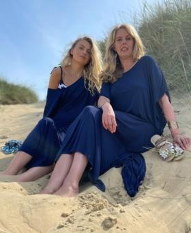 Navy Maxi Beach Dress Kimonostyle