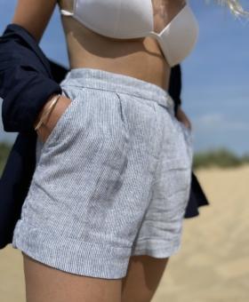Navy Stripe Linen Mix Shorts