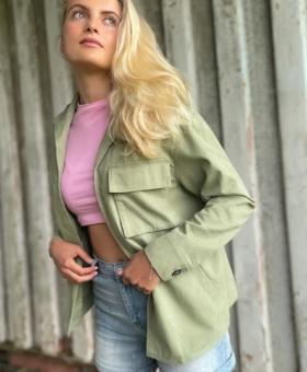 Khaki Cotton Utility Jacket