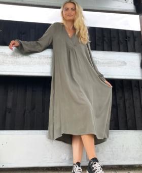 Khaki Crinkle V Neck Dress