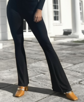 Black Butter Soft Stretch Bell Bottom Trousers